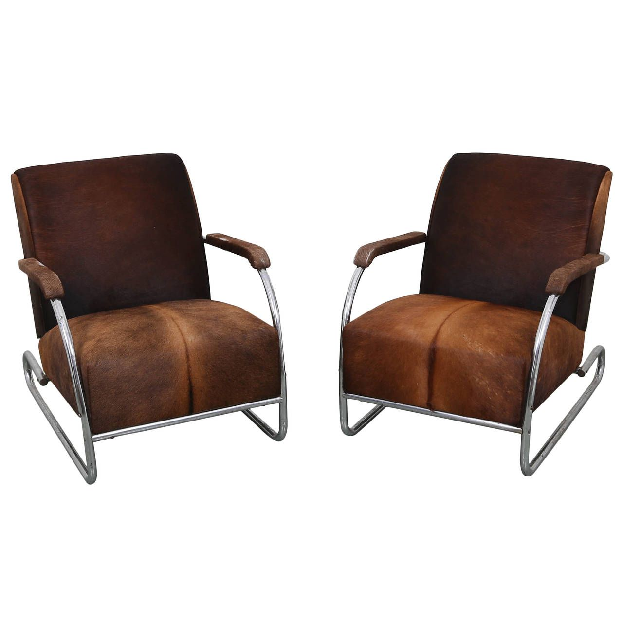 art deco chrome chairs | Pair of Art Deco Cowhide and Chrome Lounge ...