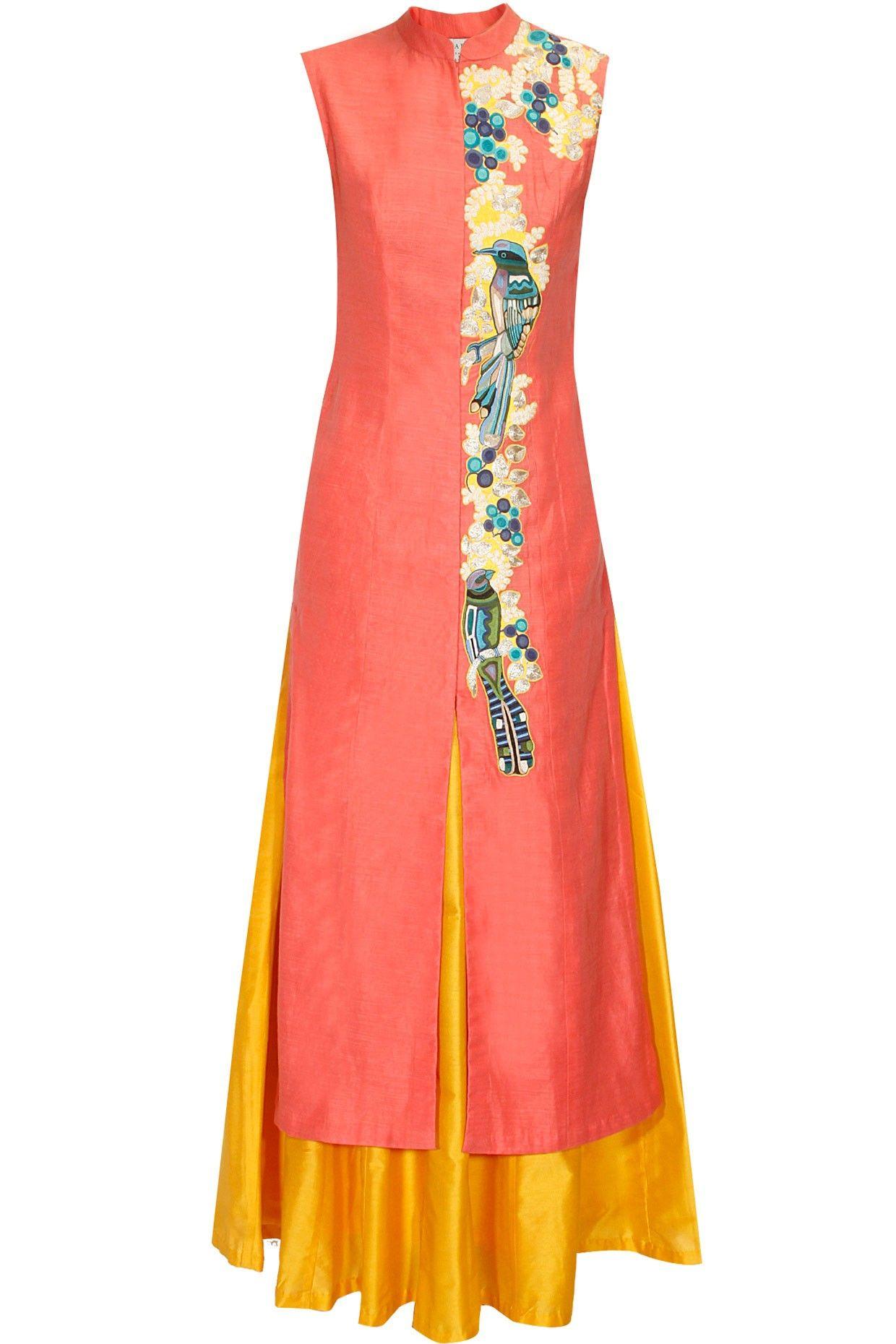 Coral Pink Embroidered Achkan Kurta With Yellow Lehenga Skirt Available