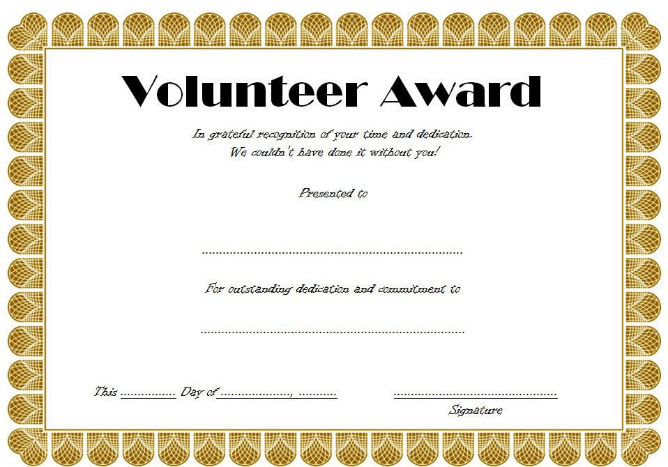 Volunteer Award Certificate Template 3 Templates Example Templates Example Awards Certificates Template Certificate Templates Volunteer Awards