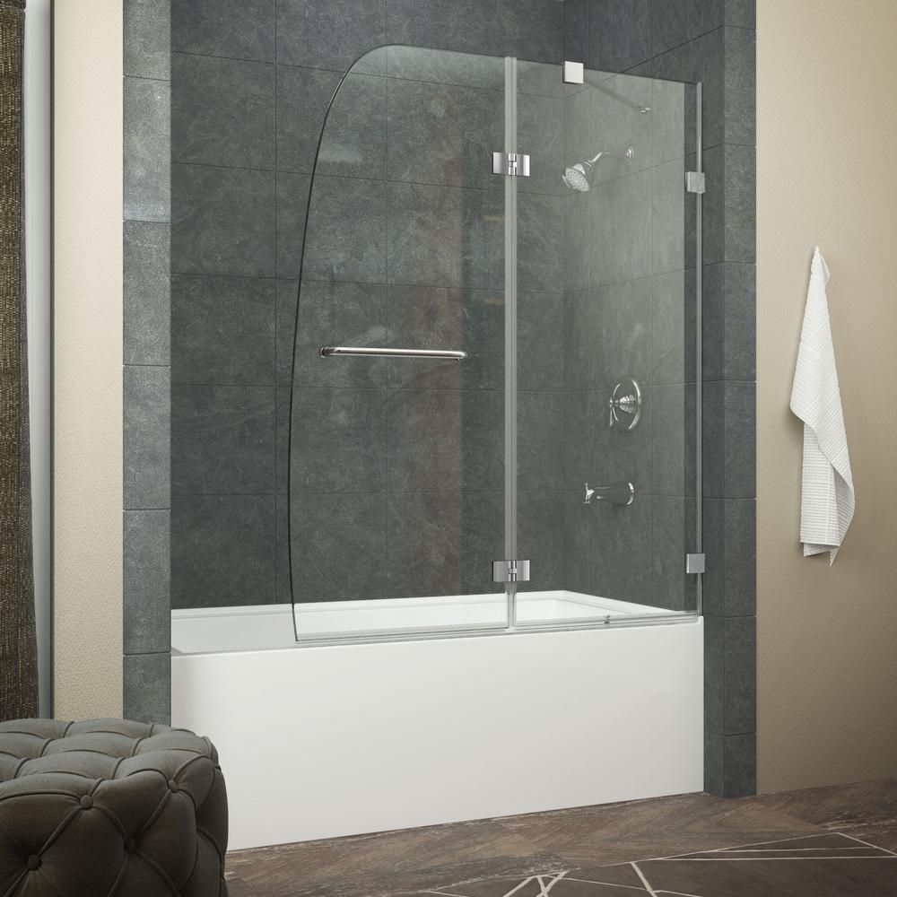 Anzzi Grand Series 34 In X 58 In Frameless Hinged Tub Door In