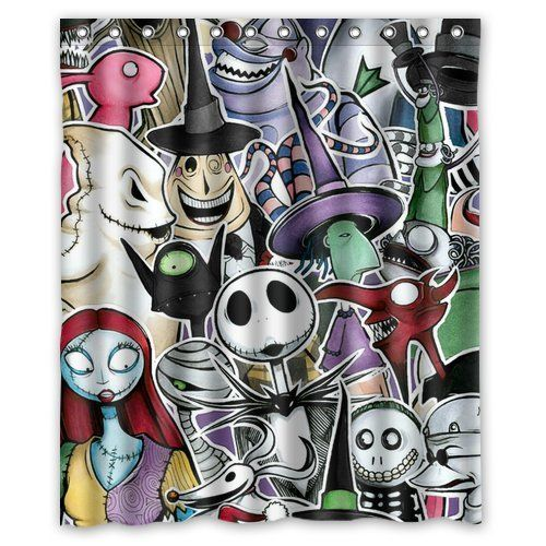 custom unique design the nightmare before christmas skull waterproof fabric shower curtain 72 by 60 inch