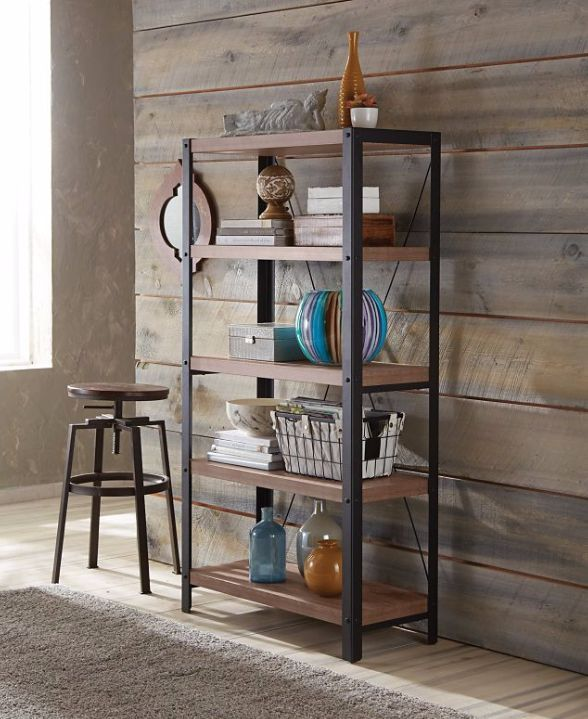 CANVAS Ossington 4 Shelf Mixed Material Bookcase Is Ideal For Displaying Your Home Dcor Accessories Books Or Collectables