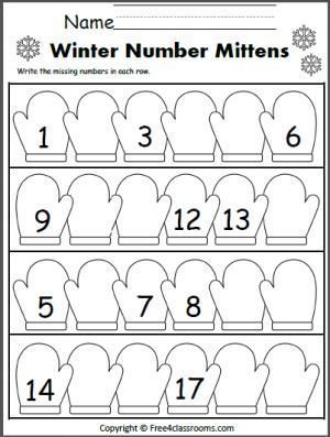 Free Winter Number Writing Worksheet. Write the missing numbers on ...