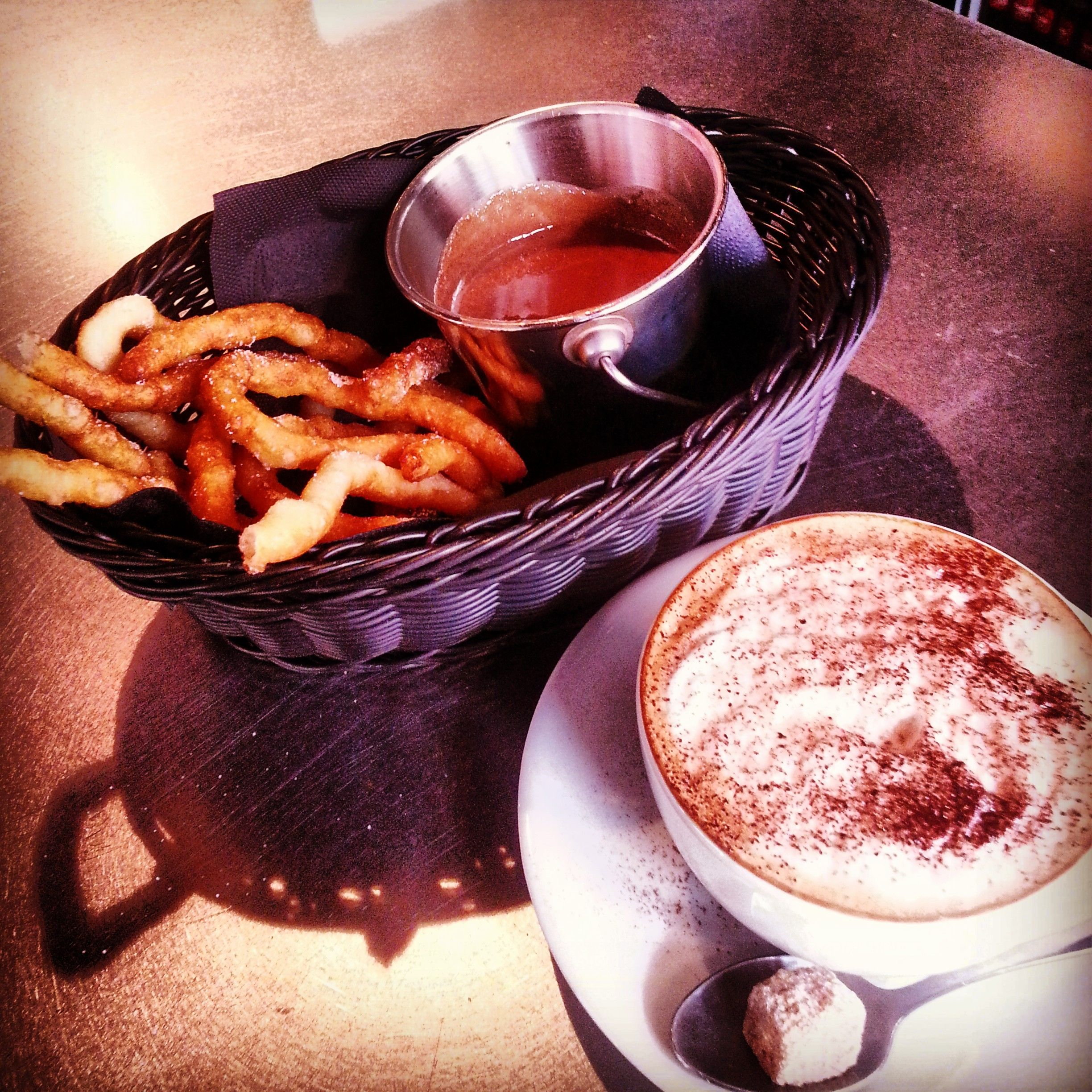 Churros, dip them in chocolatey goodness, served every day until 4pm