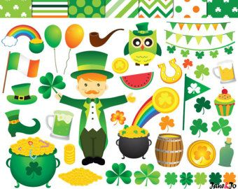St Patricks Day Digital Clipart Set Patrick S Day St Patricks Day Clipart St Patrick S Day Crafts Shamrock Clipart