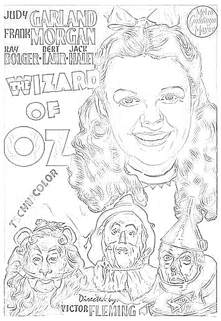 Wizard of Oz - Coloring Page | Free Adult Coloring Pages | Pinterest