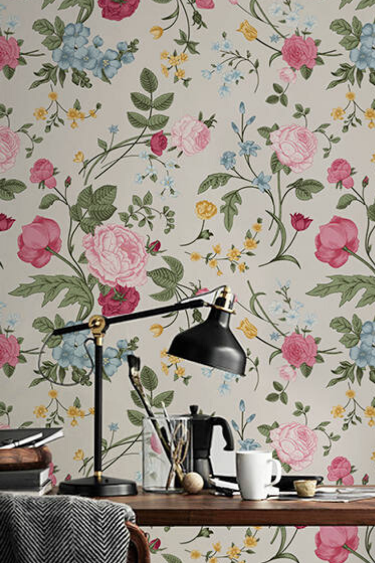 Colorfur Flowers Removable Wallpaper Pink Wall Mural Etsy Mural Wallpaper Pink Walls