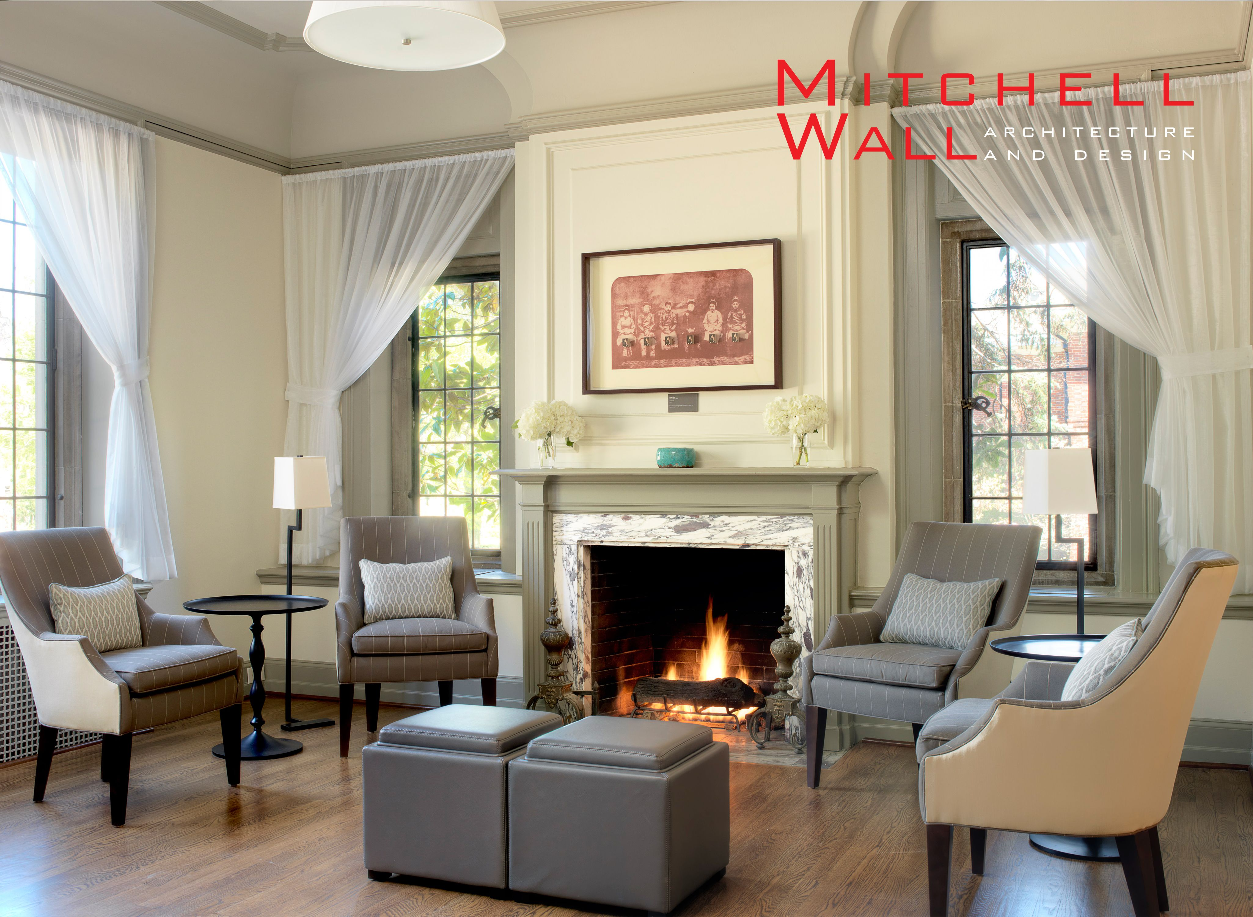 Beautifully designed sitting room with complete with a luxurious fireplace | Commercial Space