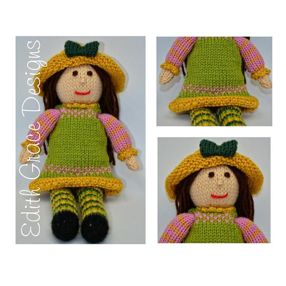 Tulip Toy Knitting Pattern Rag Doll Pattern Knit Doll Wool Toy