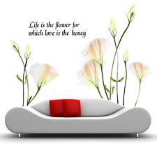 DIY Home Decor Art Vinyl Removable Wall Sticker Lily Mural Flower words for room