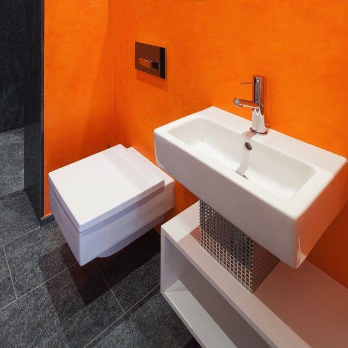 """résultat de recherche d'images pour """"salle de bain gris orange"""