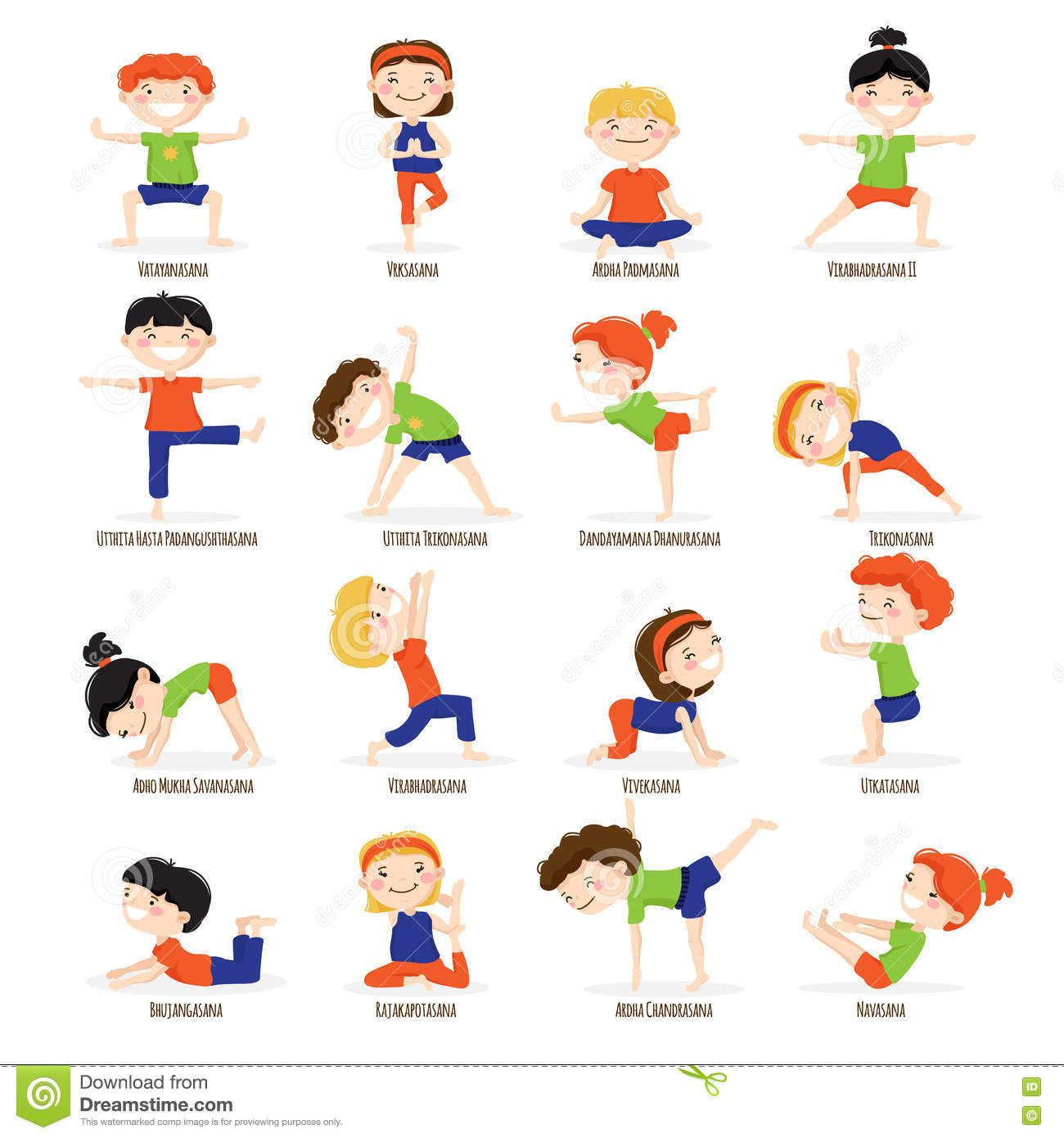 Kids Children Yoga Poses Cartoon Set
