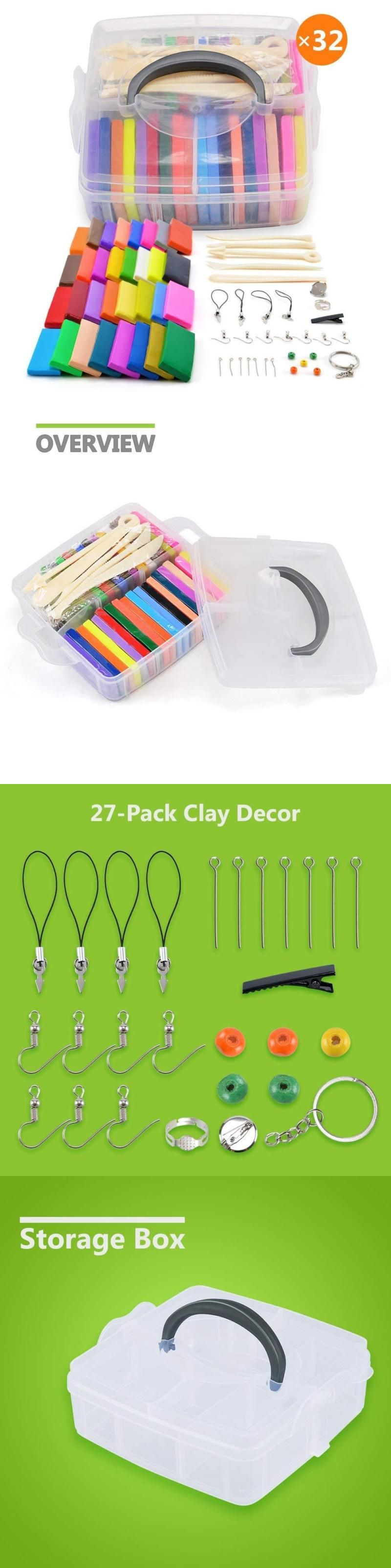 32 Blocks Polymer Clay Set Colorful DIY Soft Craft Oven Bake Modelling Clay Kit,