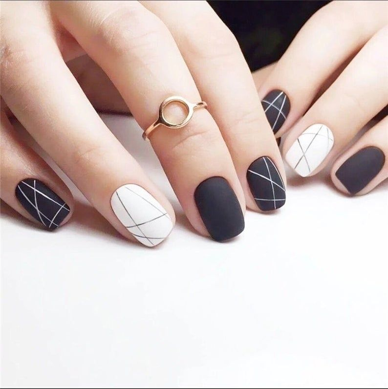 24 Pieces Matte Black And White Line Girl 3d Diy Fashion Style Etsy In 2020 Black And White Nail Designs White Nail Art White Nail Designs