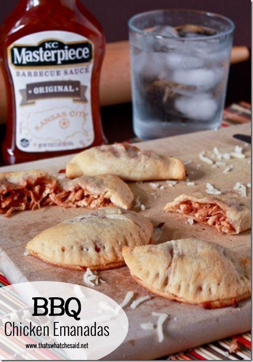BBQ Chicken Empanadas!  Rotisserie Chicken and Crescent rolls make this recipe a breeze.