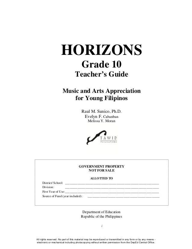 I Horizons Grade 10 Teacher S Guide Music And Arts Appreciation