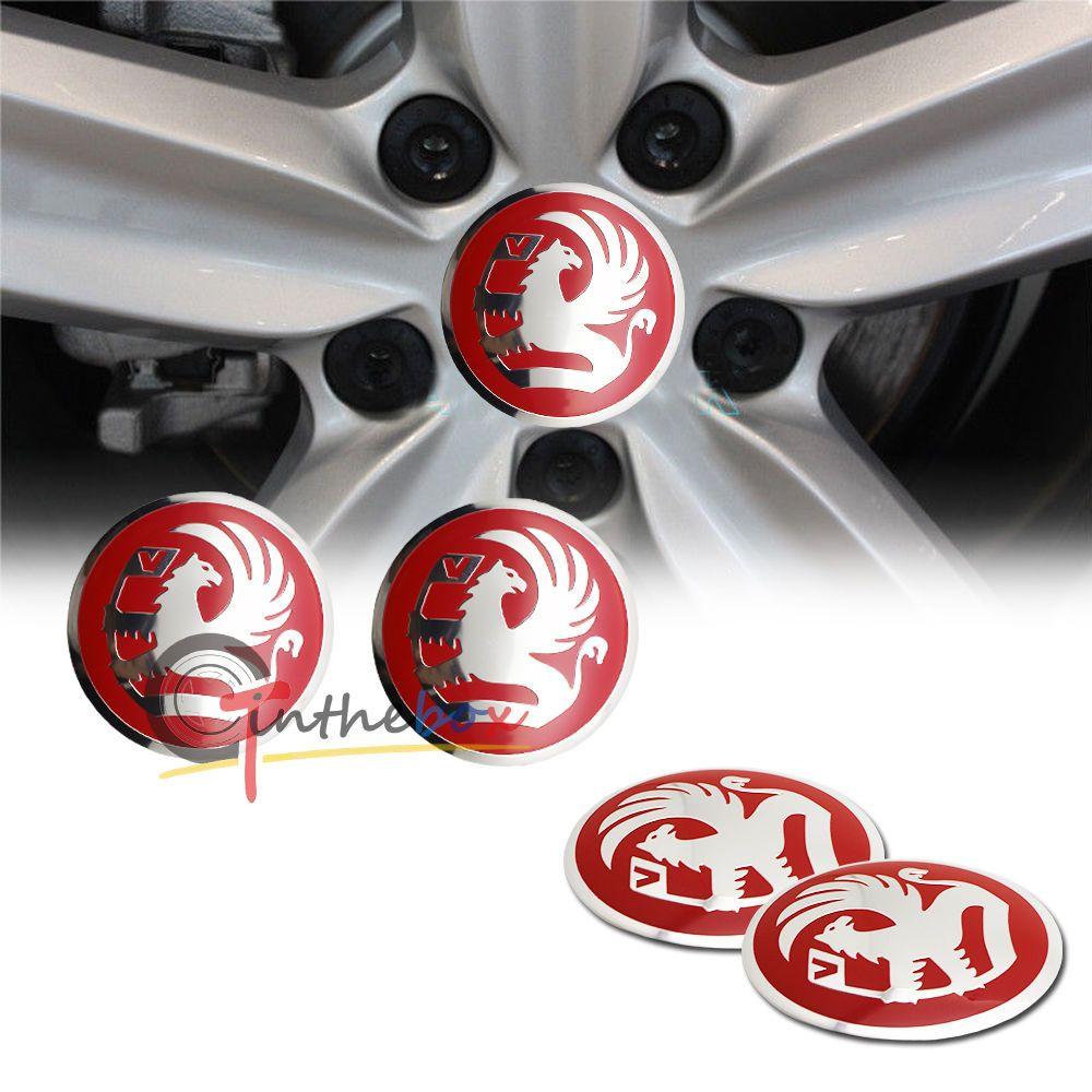 56 mm FIAT Chrome Red Wheel Center Cover Sticker 4 Pcs Decal Cap Emblem