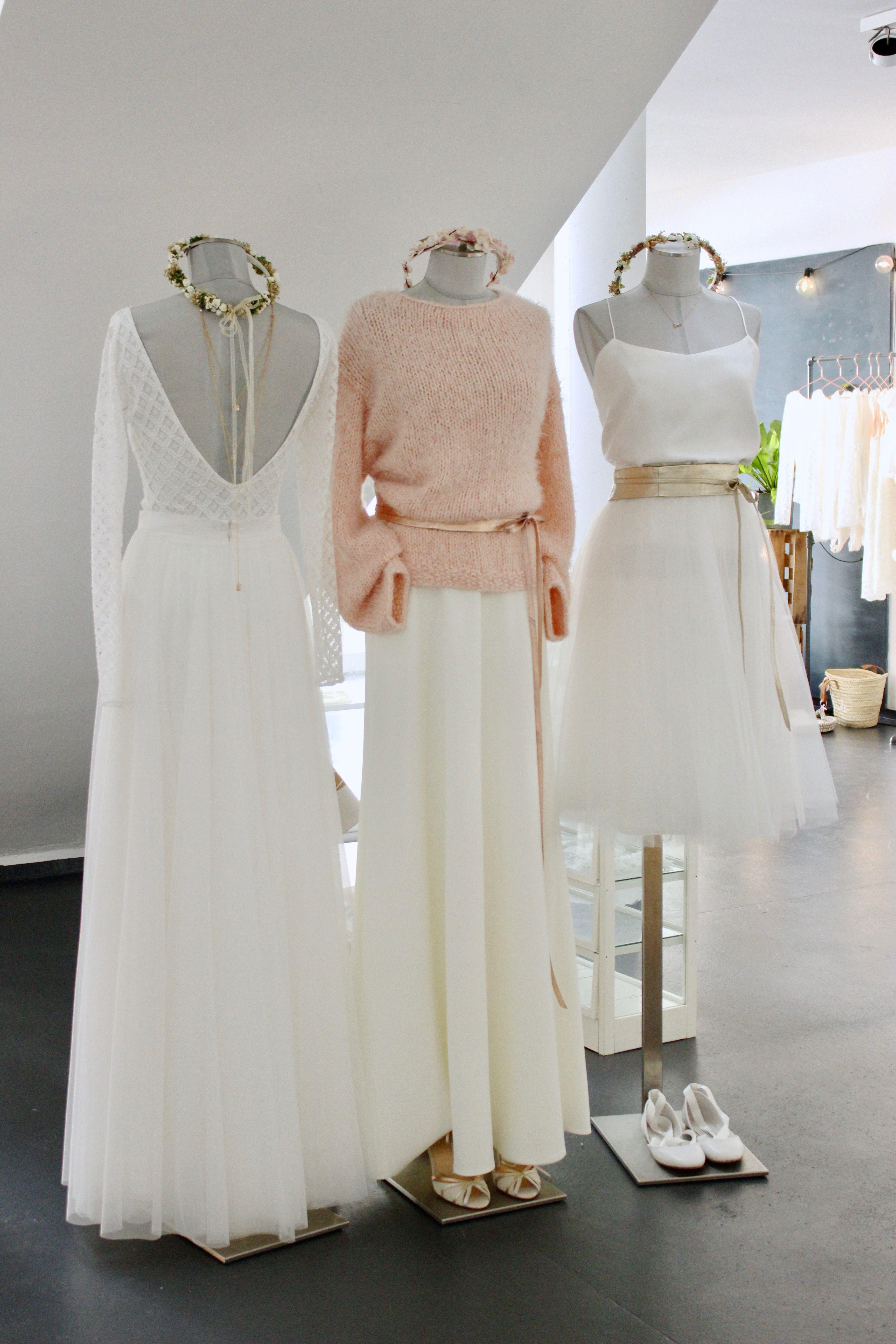 Moderne Brautkleider für die Hochzeit im Winter, zweiteilige