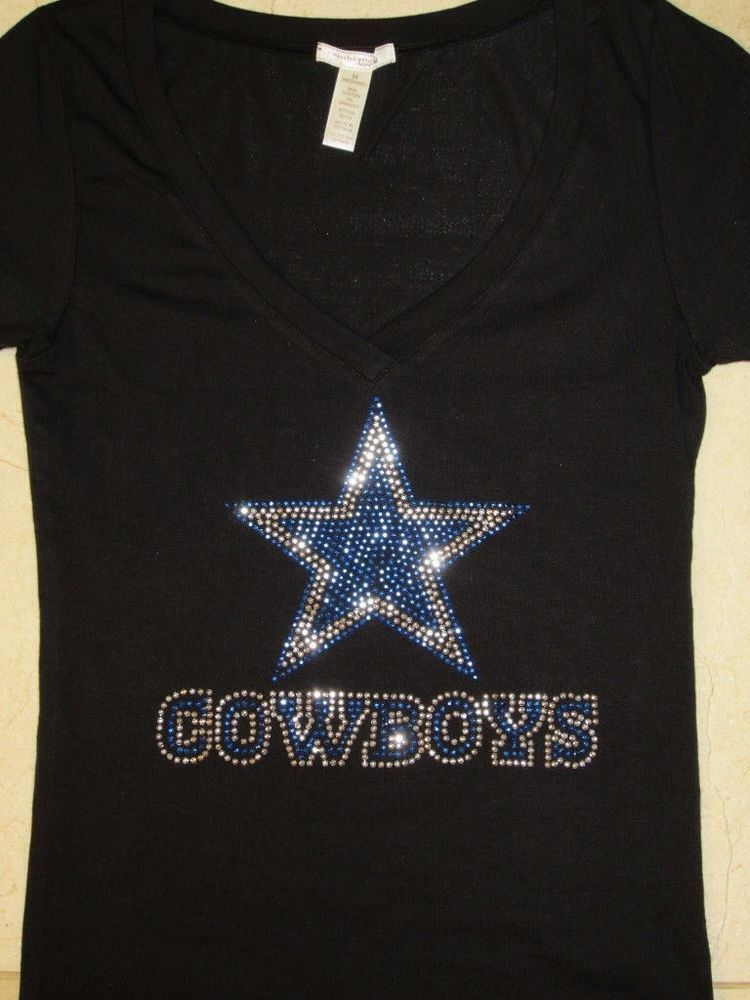 newest collection 6436a 4182b Details about Dallas Cowboys LOVE Rhinestone Bling v-neck ...