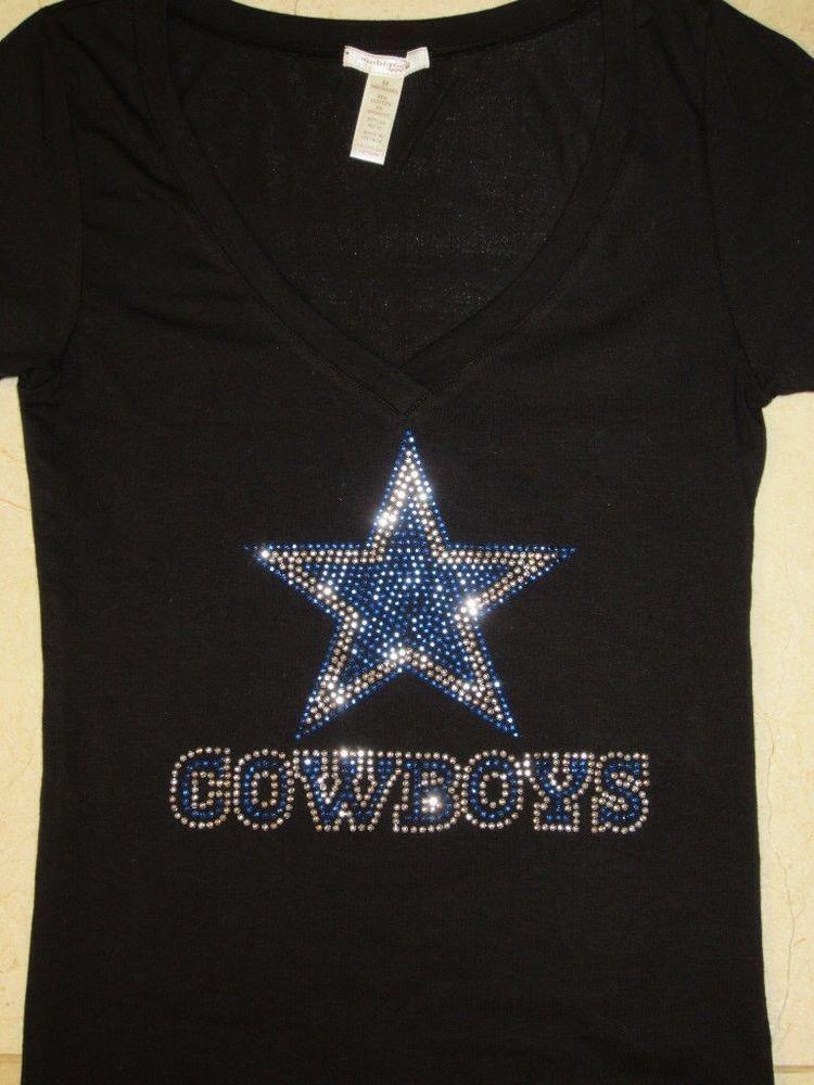 54ab37d85 Details about Dallas Cowboys LOVE Rhinestone Bling v-neck ladies T ...