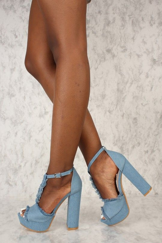 a4506878caf Sexy Light Blue Denim T-Strap Platform Chunky High Heels