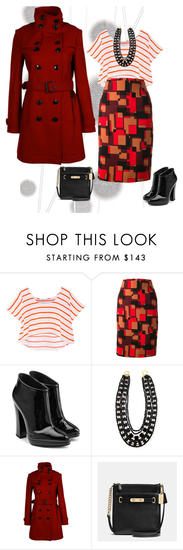 """""""I'd wear that!"""" by missgiven ❤ liked on Polyvore featuring Komar, Rebecca Minkoff, Jean-Louis Scherrer, Giuseppe Zanotti, Kenneth Jay Lane, Burberry and Coach"""