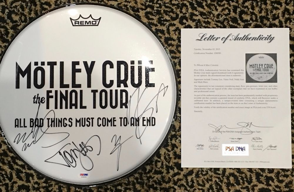 Motley Crue Signed Autographed 2015 Final Tour Drumhead By All 4 Rare Tommy Lee Motley Crue Motley Tommy Lee