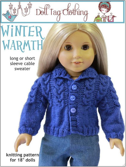 Doll Tag Clothing Winter Warmth Knitting  Doll Clothes Pattern for 18 inch American Girl Dolls - PDF on Etsy, $3.99