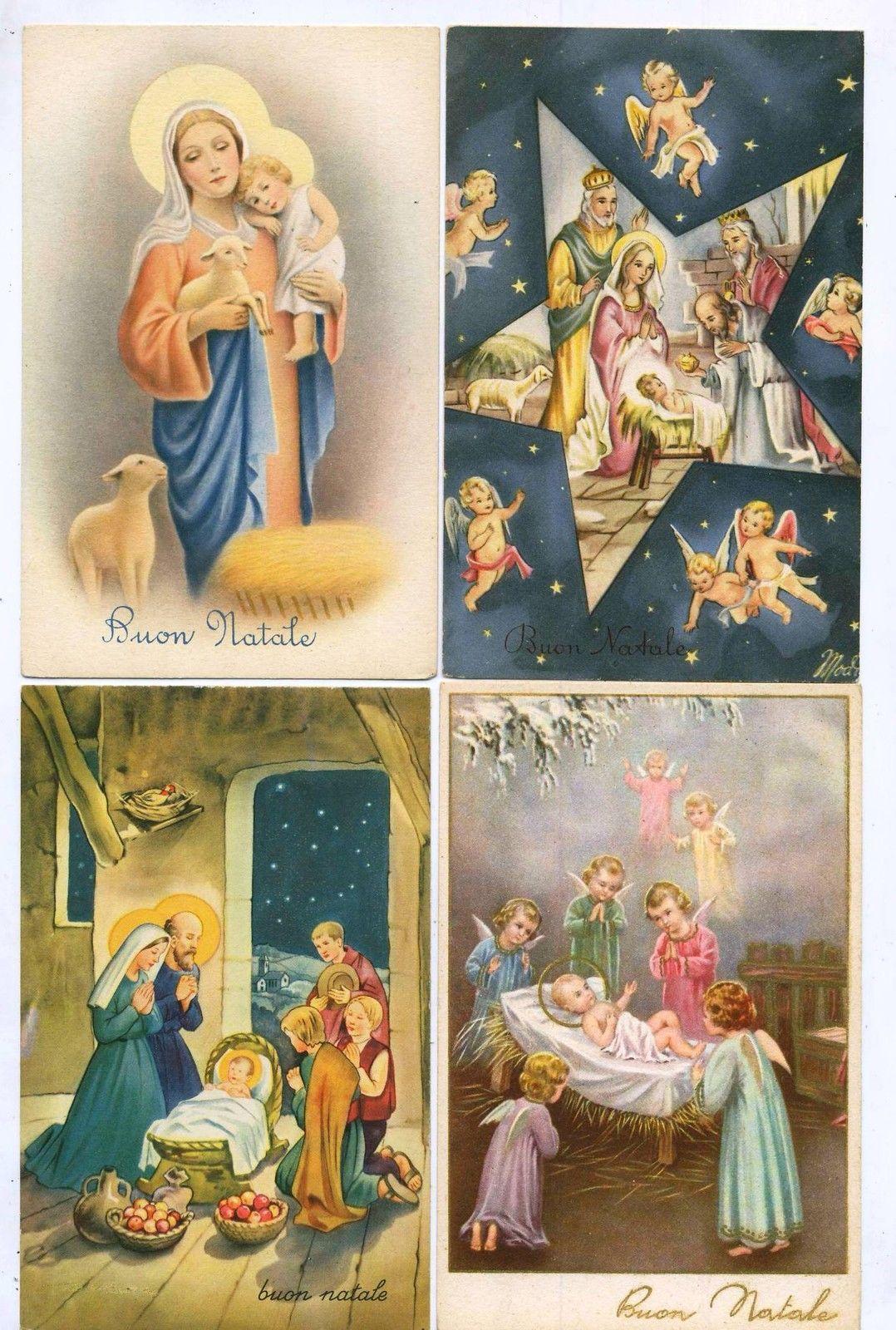 Buon Natale Anni 50.D1586 Cartolina Buon Natale Frohliche Weihnachten Anni 1940