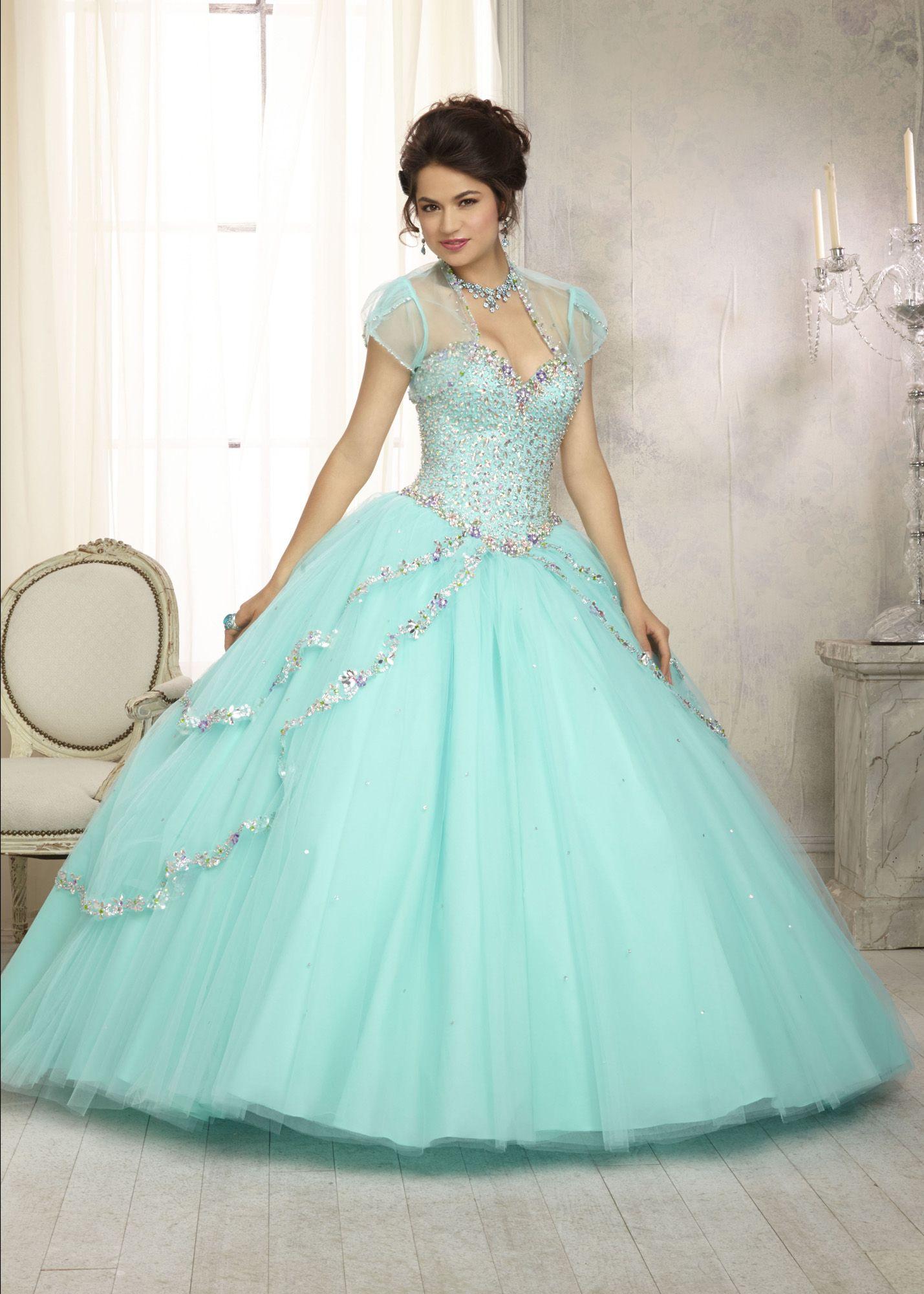 Vizcaya 88091 - Aqua Beaded Strapless Quinceanera Prom Dresses ...