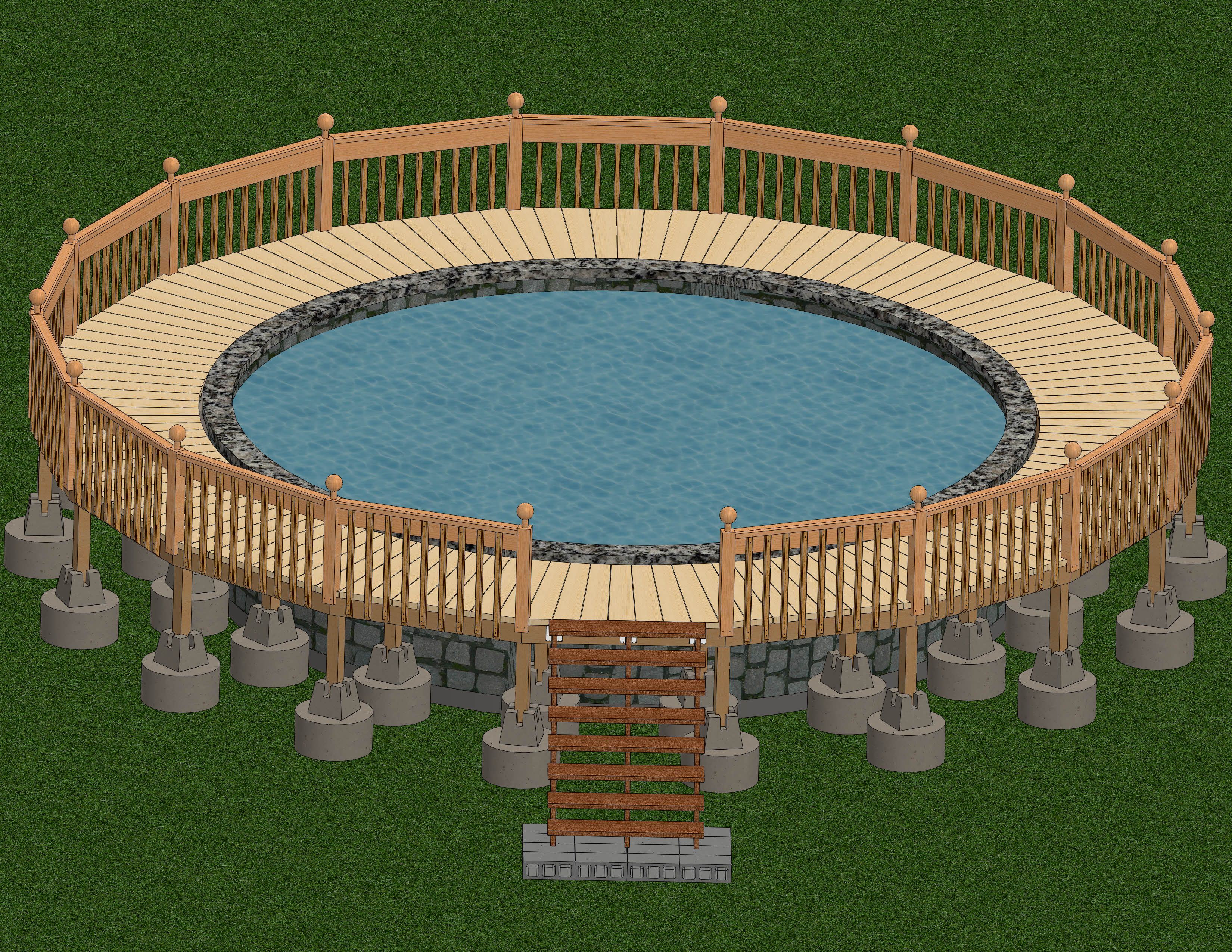 build a deck around an above ground pool ground pools