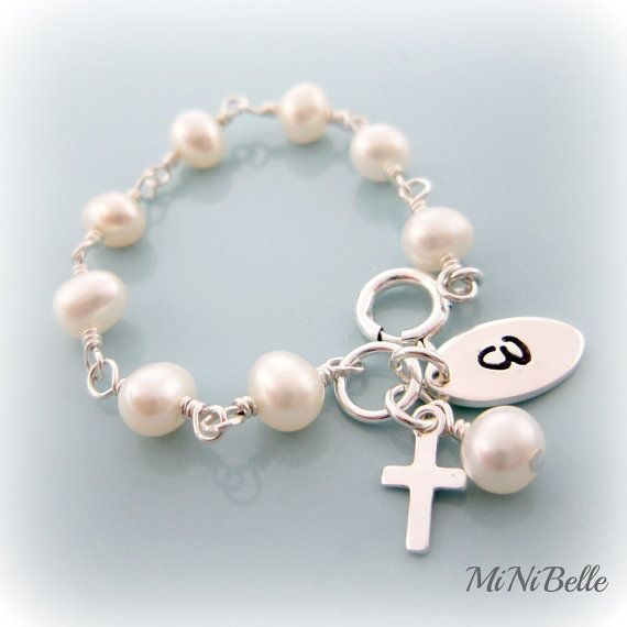 Baby Pearl Bracelet Cross Rosary Personalized Baptism Christening