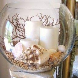 Photo of Kerzen in einem Glas, dekoriert mit Muscheln