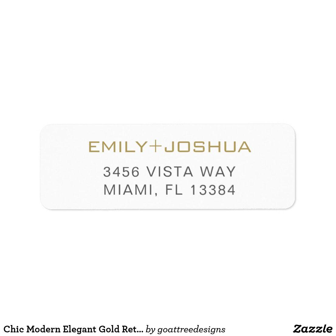 2018 年の chic modern elegant gold return address label happy