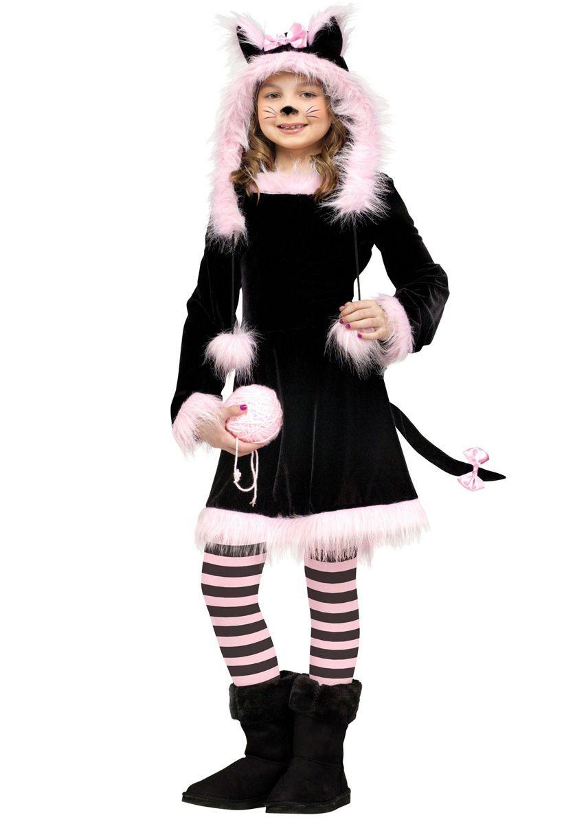 Girls Midnight Cat Costume Halloween Childrens Kids Kitty Fancy Dress Outfit