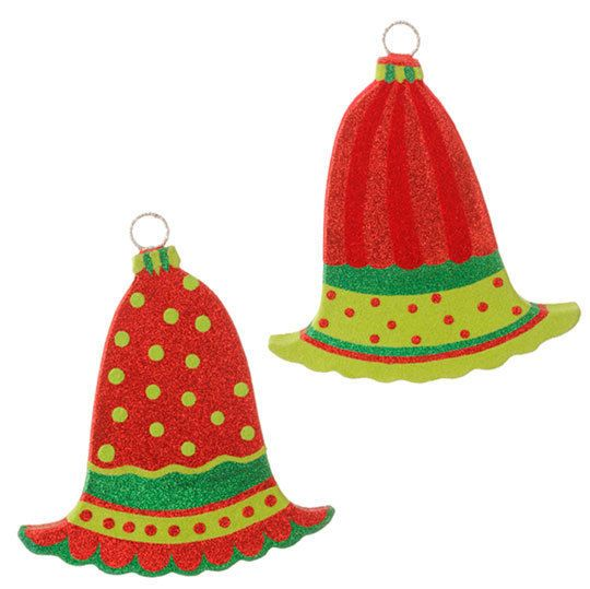 Christmas Ornaments Raz Flat Flocked Bell 85 \