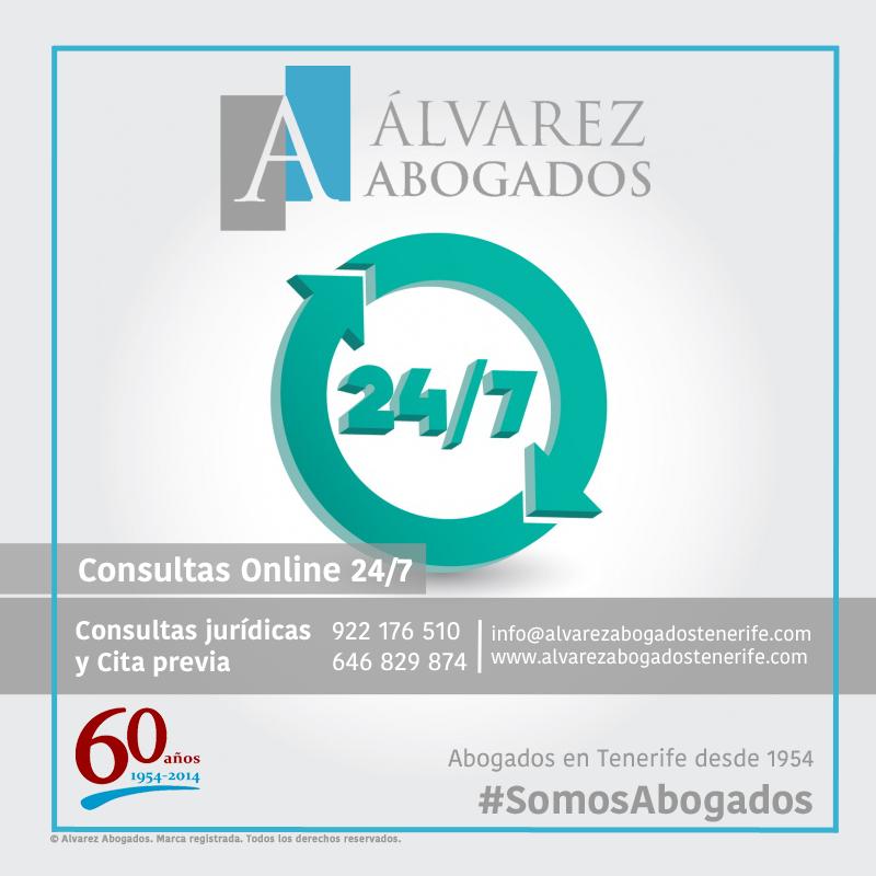 Recuerde! Puede realizar su consulta jurídica y solicitud de cita previa, ambas online, 24 horas, 7 días de la semana. http://alvarezabogadostenerife.com/?p=5430 #SomosAbogados