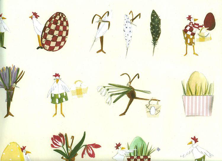 Disegno e pittura carta - Pasqua - Carta da imballo di Silke Leffler - un pezzo di design di Fabriana a DaWanda