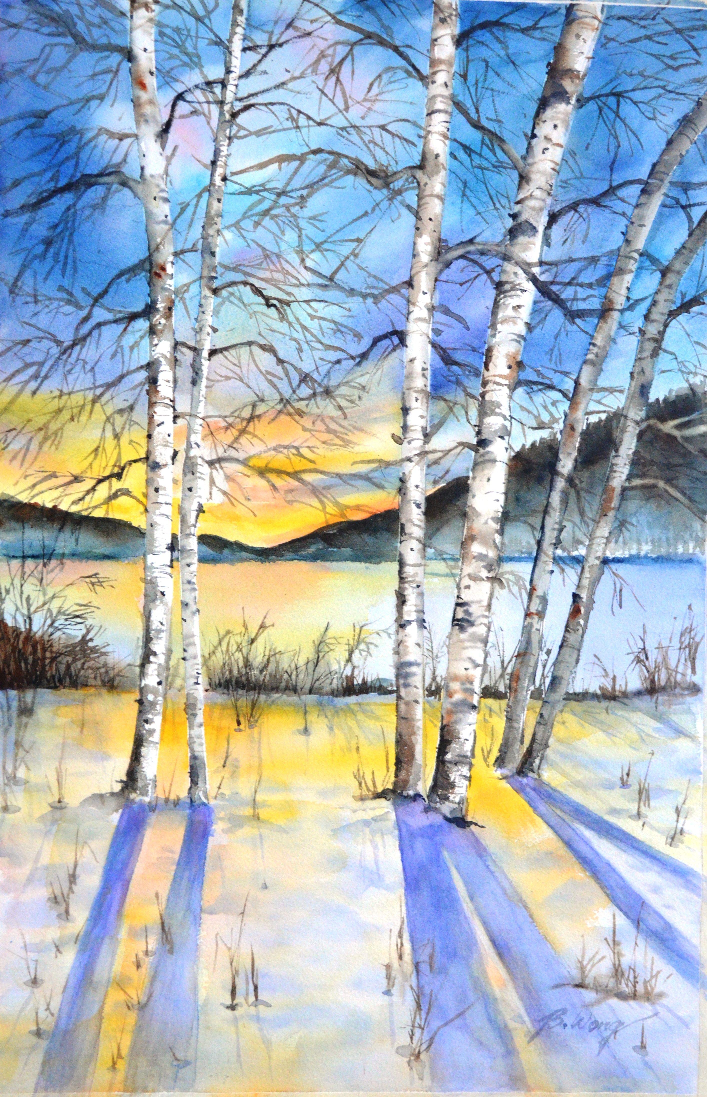 Original Watercolor Of Winter Landscape Snow Scene Watercolor