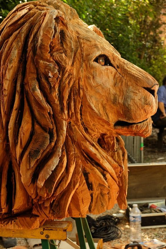 Chainsaw carving lion tigers and cats pinterest