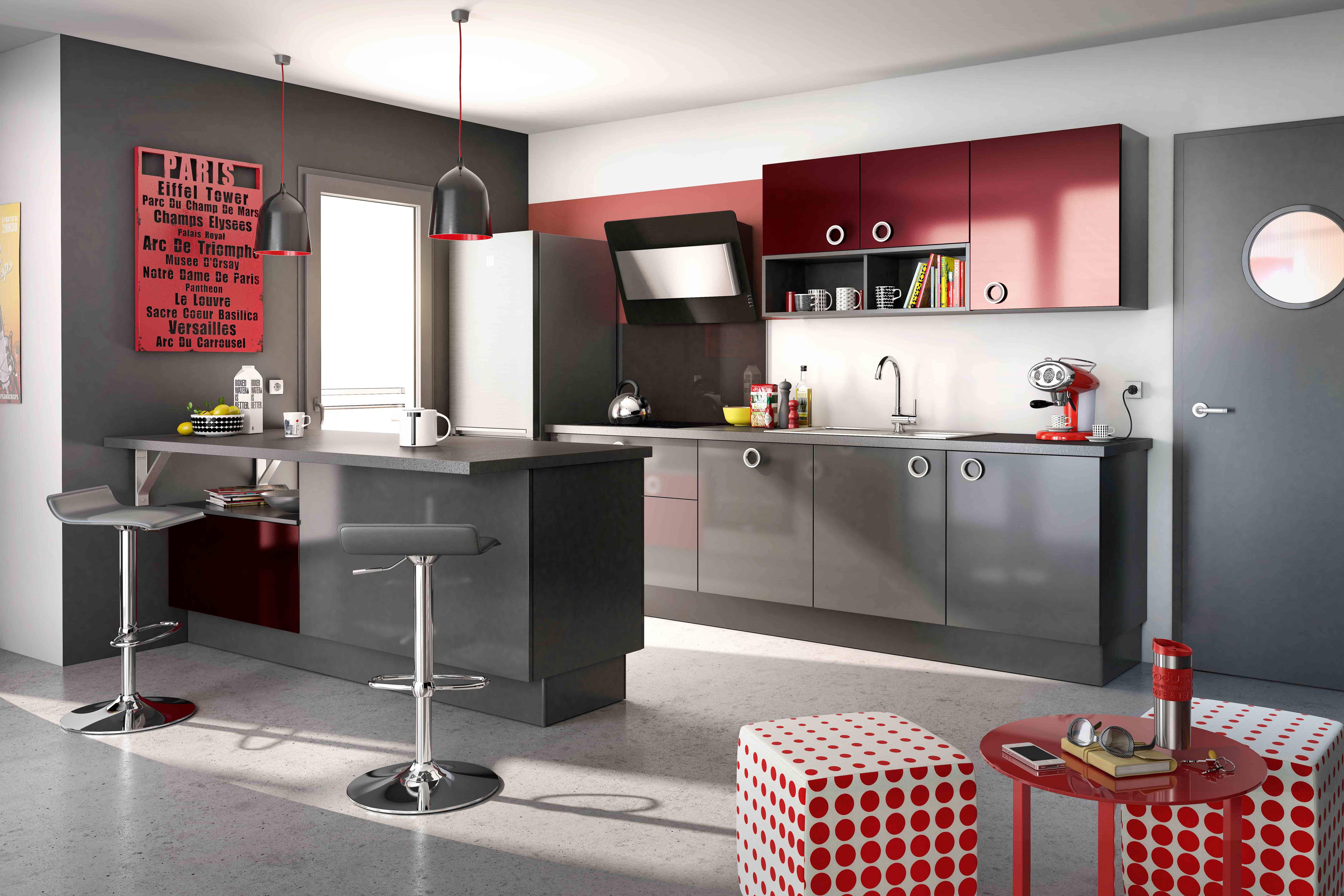 Cuisine Rouge Et Grise Modele De Cuisine Urban Par Socoo C Cuisine Rouge Deco Cuisine Rouge Cuisine Rouge Et Gris