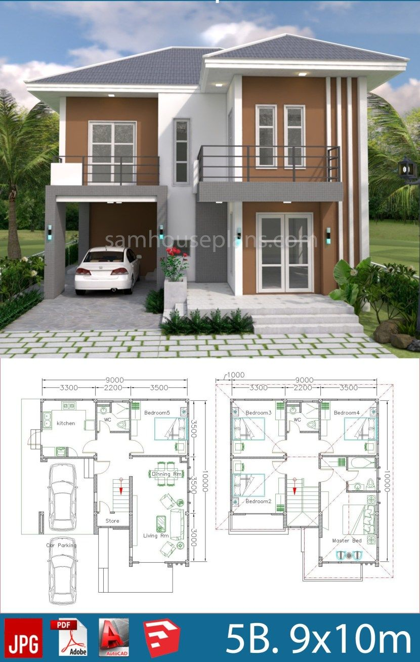 House Plans Design 9x10m With 5 Bedrooms Plan Architecture