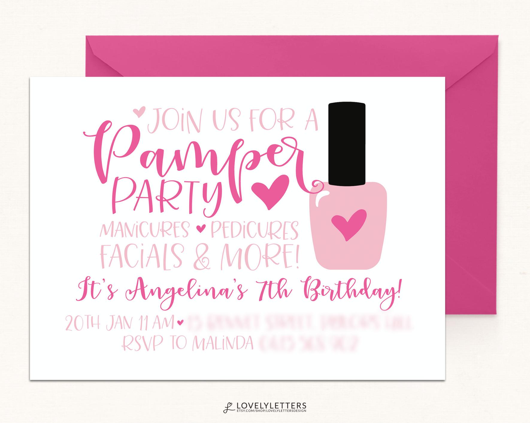 Spa Birthday / Spa Day Party / Nail Polish Invitation / Spa Invite ...
