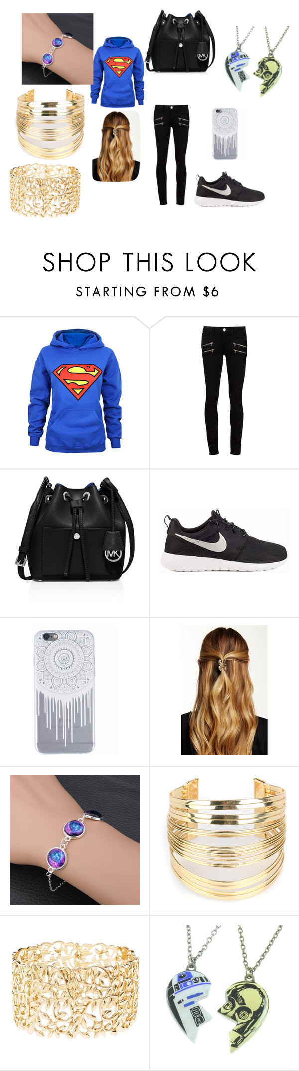 """""""Untitled #53"""" by tibbletha ❤ liked on Polyvore featuring Paige Denim, MICHAEL Michael Kors, NIKE, Natasha Accessories, WithChic, Charlotte Russe and R2"""