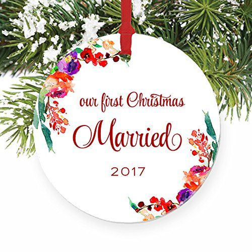 Newlywed Christmas Ornament 2017 First Xmas Tree Gift Idea For New Husband Wife Newlywed Christmas Ornament First Christmas Ornament First Christmas Married