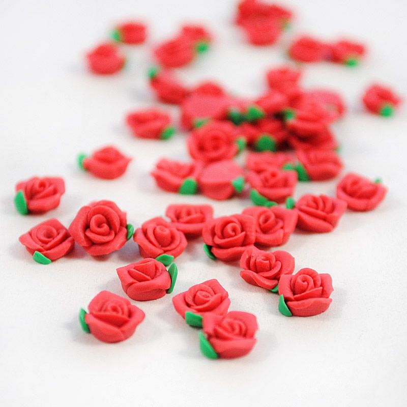 Polymer Clay Cane Flower Red Rose Kawaii Nail Art #wholeport #clay ...