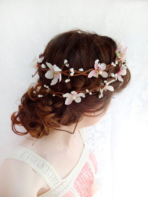 Photo of Items similar to blush pink wedding hair flower wreath, bridal headpiece – SUGAR FROST – cherry blossom bridal hair accessory / flower girl headband on Etsy
