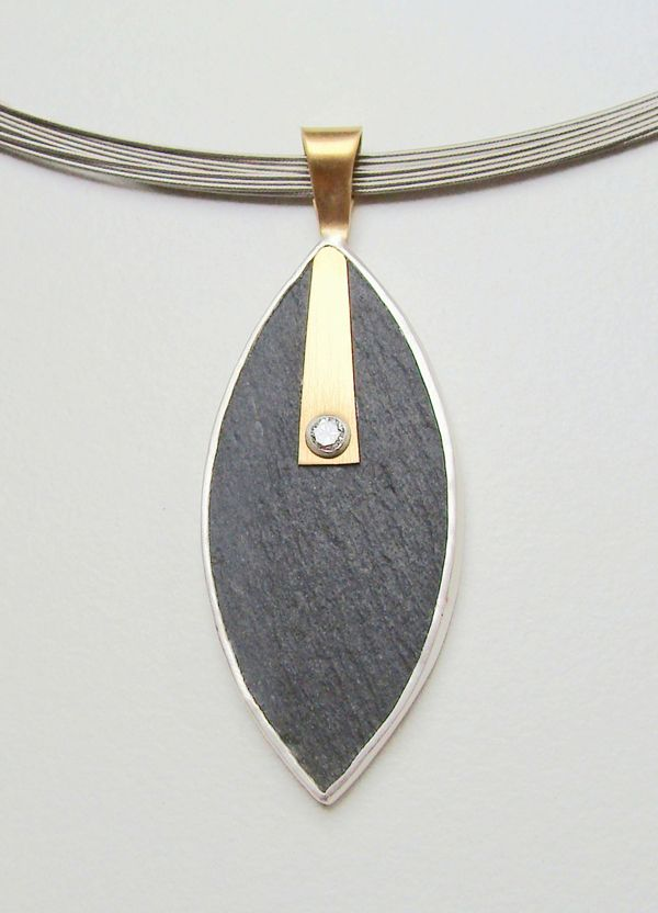 Jane Macintosh - slate pendant with diamond