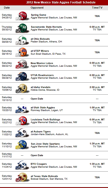 New Mexico State Aggies Football Team 2012 schedule