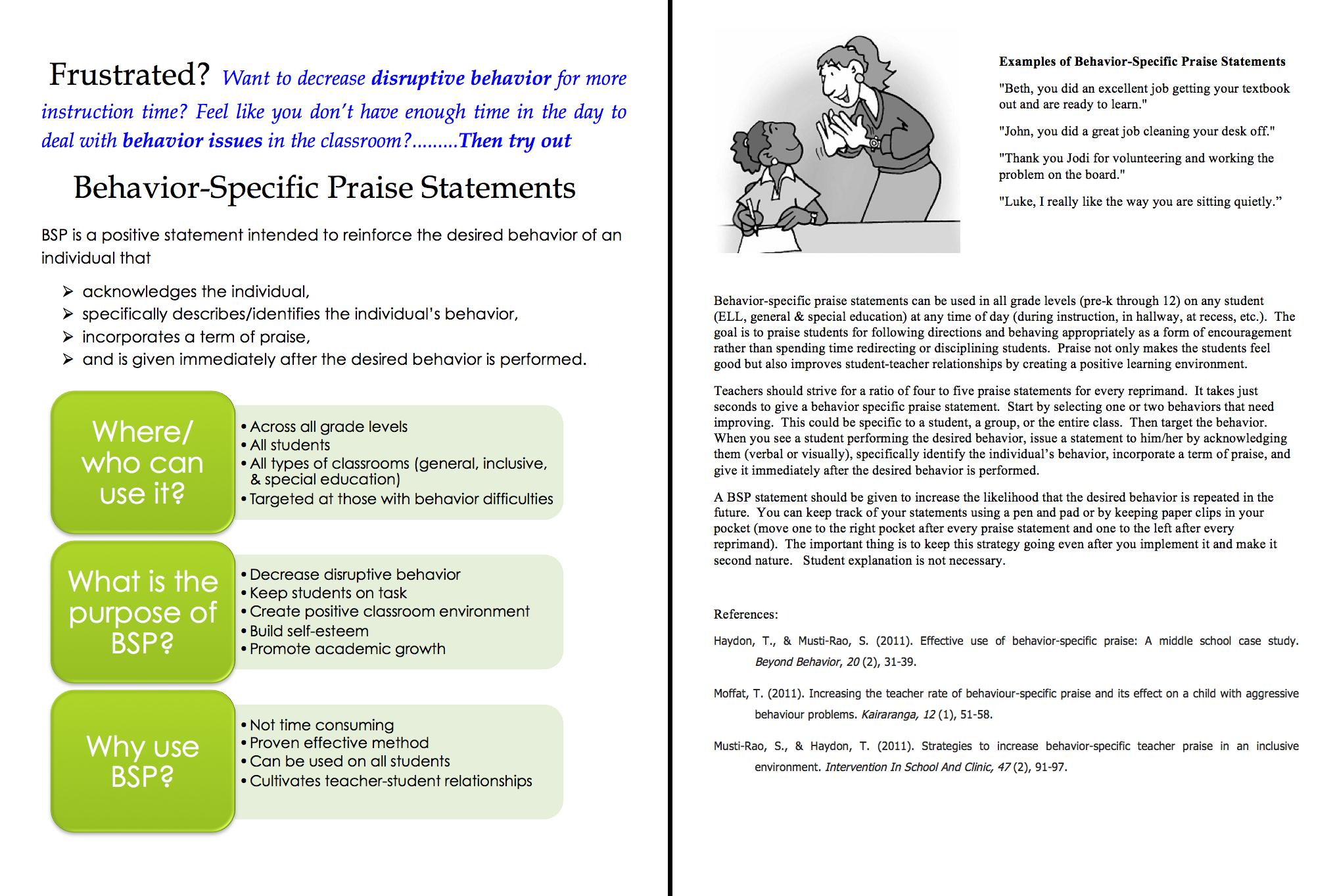 Behavior Specific Praise Statement Strategy